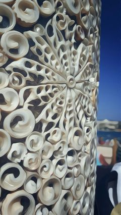 oilpaintingeffect javea seashells bluesky