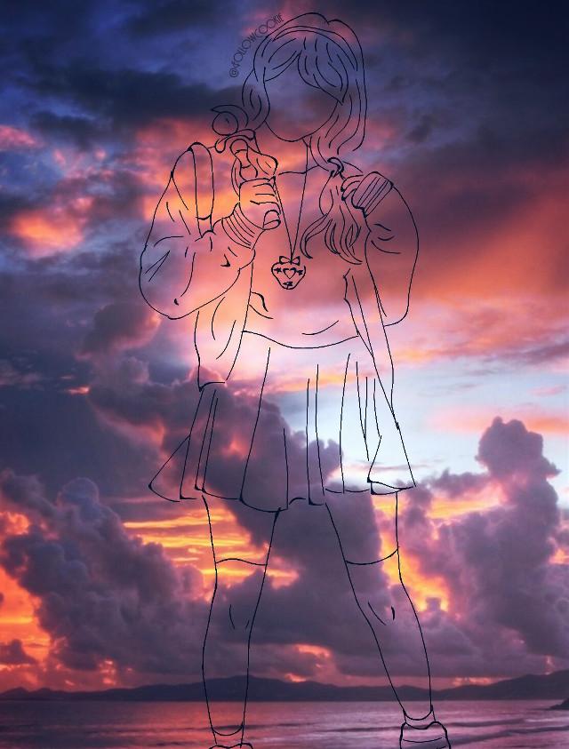 #FollowCookie #japan #Japanese #Asiangirl #draw  #cute #kawaiicostume  #sunset #cloud