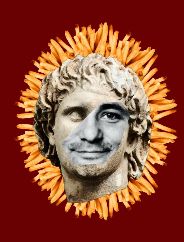 #collage #cutandpaste #digitalart #composition #statue #greek #billmurray #frenchfries