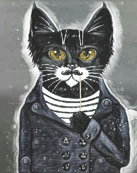 #FreeToEdit  #blackandwhite  #blackcat  #hipster #props #drawing  #magiceffect