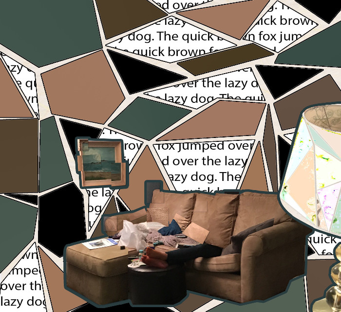My Cubism Project for Digital Art 1 All pictures in this piece are mine. DO NOT USE!!!!!!! made with adobe photoshop #interesting #art #photoshop #adobephotoshop #digitalart #digital #cubism #earthtones #livingroom #lamp #couch #text #colors #artclass