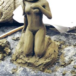 clay girl panic snake art